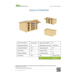 Summer 13 x 10 Wood Shed / Pool House - ECO Garden Sheds. All natural wood 13 x 10 traditional pool house/ wood garden shed -- Summer. Brochure.