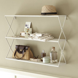 Renee Shelf - These hanging shelves have such a wonderful vintage feel to them. The crisscross pattern on the sides adds so much charm and character.