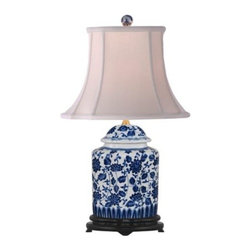 Blue and White Floral Scalloped Porcelain Tea Jar Table Lamp - Blue and white lamps have been classic for many years, and they're still getting real estate in so many rooms.