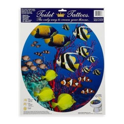 Lena Fiore Inc - Toilet Tattoos Coral Reef in Round - This Toilet Tattoo is a hygienic, removable applique for the toilet lid. Made from electrostatic vinyl film, this toilet seat decoration wipes clean and is reusable.