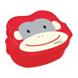 Green Sprouts - Green Sprouts Safari Bento Box  Red Monkey - Kids simply go ape for the adorable Green Sprouts Safari Bento Box in Red Monkey, and it's easy to see why. This bento box is adorable, thanks to the cartoon monkey printed on its lid. The cheerful ape has a broad smile as his expression, and he stands out.