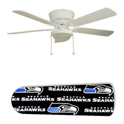 "Seattle Seahawk 52"" Ceiling Fan with Lamp - This is a brand new 52-inch 5-blade ceiling fan with a dome light kit and designer blades and will be shipped in original box. It is white with a flushmount design and is adjustable for downrods if needed. This fan features 3-speed reversible airflow for energy efficiency all year long. Comes with Light kit and complete installation/assembly instructions. The blades are easy to clean using a damp-not wet cloth. The design is on one side only/opposite side is bleached oak. Made using environmentally friendly, non-toxic products. This is not a licensed product, but is made with fully licensed products. Note: Fan comes with custom blades only."