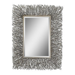 "Uttermost - Corbis Silver w Light Champagne Highlights Mirror - This decorative mirror features a hand forged metal frame with a silver finish and light champagne highlights. Mirror has a generous 1 1/4"" bevel. May be hung either horizontal or vertical."