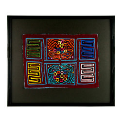 "Salvatecture Studio - Vintage Framed Panama Kuna Mola ""Crabs"" Wall Art - Add some artistic color to your walls with this framed, vintage mola. Kuna women in Panama spend hours putting these intricately crafted works of art together, cutting and stitching up to seven layers of fabric. Its shellfish design makes it an ideal choice for any beachside home or cottage."