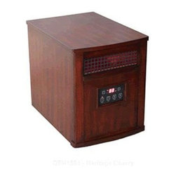 World Marketing - Comfort Glow Infrared Quartz Heater-  Cherry - Comfort Glow Infrared Quartz Heater.  Cherry Finish - Infrared Heater. Chestnut Oak Finish - 1500W total power (5000 BTU's); hi-velocity blower; digital room temperature and function controls; furniture grade wooden cabinet and casters; cool-down cycle.