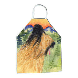 Caroline's Treasures - Briard Apron SS8318APRON - Apron, Bib Style, 27 in H x 31 in W; 100 percent  Ultra Spun Poly, White, braided nylon tie straps, sewn cloth neckband. These bib style aprons are not just for cooking - they are also great for cleaning, gardening, art projects, and other activities, too!