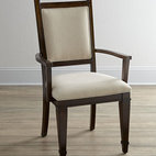 "Horchow - Two ""Paulette"" Armchairs - With tapered feet and neutral upholstery, these dining chairs bring traditional style to casual dining. Handcrafted of hardwood solids, walnut veneers, and laminated lumber. Medium-brown walnut finish. Padded seats and backs. Sold in pairs; each, 22..."