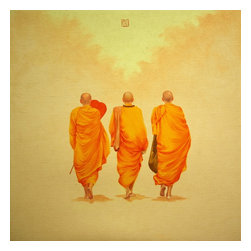 Into The Forest (Buddhist Monks Asian Contemporary, Original, Painting - The artist nguyen minh phuoc is recognized in vietnam as one of the more promising contemporary artists gaining international attention. he has both managed to work in a genre that speaks to an inherently vietnamese culture as well as more contemporary avant garde performance and art pieces. he has exhibited nationally, within asia, in australia, in switzerland, italy, germany and the us (including in new york and california). here, modern art etc presents pieces obtained exclusively - directly from the artist. these contemporary paintings showing the backs of buddhist monks reflect a sense of observation and contemplation - the artist's observation of the monks' simple, gentle and peaceful way of life.