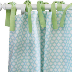 """New Arrivals - New Arrivals Curtain Panel Set Sprout - Complete your room with curtain panels in artful colors and prints by New Arrivals. The Sprout curtains feature a clean and serene quatrefoil pattern in aqua blue and white with green tea ties. Designed to coordinate with the nursery and children's bedding. Optional standard or blackout curtain lining is available for an additional cost. Set of 2, each panel measures 52""""W x 84""""H (not including ties). Length of curtains can be customized by contacting shop@laylagrayce.com"""