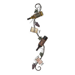Benzara - Wall Wine Rack with Weathered Highlights - This Metal Wall Wine Rack is intricately styled to give kitchen settings a classic, vivacious look. A curvaceous frame exemplifies the design, and features holders to accommodate four wine bottles together. Decorated with vine motifs and delicate tendril accents, this wine rack adds a charming look to any modern or traditional kitchen setup. The matte finish with weathered highlights accentuates the visual appeal of this wine rack, and lends an antique look to the design. This wall wine rack slanted placement to hold the bottles at an angle for gradual, optimized oxidation and maturation. Crafted from premium grade metal, this wine rack promises durability and long-lasting performance. is a masterpiece of aesthetic craftsmanship, and will spruce up your mini bar. Designed in a unique style, you can place it in the lobby or in the dining hall.
