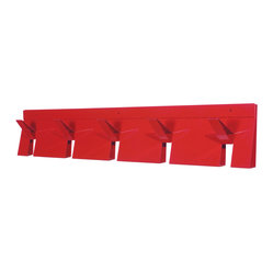 Blu Dot - Blu Dot 2D:3D Coat Rack, Fire Engine Red - If you can fold, you can be organized. From flat to fabulous in no time. Each piece is available in gun metal, fire engine red and white. Think of it as functional origami without papercuts.