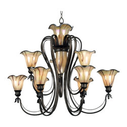 Kenroy - Kenroy Inverness Transitional Chandelier X-ST99809 - Fro the Inverness Collection, this Kenroy Lighting transitional chandelier features multiple tiers of lights as well as an additional light located in the central column of the frame. The art glass is almost floral in its appearance and comes paired with delicate arms and a beautiful Tuscan Silver finish.