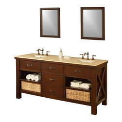 """J and J Vanities - 70"""" Espresso Xtraordinary Spa Double Vanity Sink Cabinet With Beige Marble - This is the pinnacle of furniture style bath vanity cabinet. It combines the casual feel of a cabin, to the functionality demanded in an urban environment. It has the most solid wood used in a furniture style vanity in its class, and completed with the highest end soft closing mechanisms on all hinges and drawer glides. And we did not stop there, the drawer box panels, are finger-joined solid wood; and the penal, are joined with dove-tailed joinery. If that still has not sold you on the Xtraordinary vanity line, how about we added the contrasted, hand-woven wick baskets? Yes, the handsome looking basket that tailored to this Xtraordinary vanity line is also included. Oh, have we mentioned the infinity sink inserts are included as well? This special, patented water feature is included in the Xtraordinary vanity line. And it takes just seconds to convert normal undermount sinks to infinity sinks, something you can only imagine to be in a spa. The richness of the light espresso color cabinet, combined with the Perlato Svevo beige Marble. The 3 over-sized drawers flanked with 4 open shelves.ᅠThe mission style bathroom vanity cabinet drawers are solid wood (front, back and sides) with dove-tailed joinery. New deeper counter gives more needed counter space. Xtraordinary double vanity includes the cabinet, the marble top, and undermount white porcelain sinks. Vanity mirror sold separately. Dimensions: 70 in. x 25 in. x 36 in."""