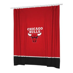Sports Coverage - NBA Chicago Bulls Sidelines Shower Curtain - Spruce up your Bathroom and show your NBA spirit with this Chicago Bulls Sidelines Shower Curtain from Sports Coverage! Featuring 100% Polyester Jersey with screenprinted logo. It measures 72 x 72.