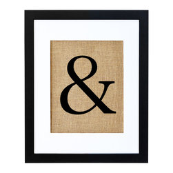 Fiber and Water - Ampersand Art - The classic ampersand, forever sandwiched between two other things, gets some special treatment here, hand-pressed onto natural burlap and neatly framed in black and white to show off its quirky style. You can hang it by itself as an eclectic abstract art piece or get creative about the placement and hang it between two pictures or words for a wall montage that's more than the sum of its parts.