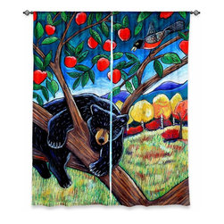 """DiaNoche Designs - Window Curtains Unlined by Harriet Peck Taylor - A Bear in the Apple Tree - Purchasing window curtains just got easier and better! Create a designer look to any of your living spaces with our decorative and unique """"Unlined Window Curtains."""" Perfect for the living room, dining room or bedroom, these artistic curtains are an easy and inexpensive way to add color and style when decorating your home.  This is a tight woven poly material that filters outside light and creates a privacy barrier.  Each package includes two easy-to-hang, 3 inch diameter pole-pocket curtain panels.  The width listed is the total measurement of the two panels.  Curtain rod sold separately. Easy care, machine wash cold, tumbles dry low, iron low if needed.  Made in USA and Imported."""