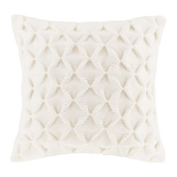 Madison Park - Madison Park Waffle Knit Square Pillow - This square waffle knit pillow will add the perfect amount of comfort and texture to your space. Comes in a refreshing ivory color, with a hidden zipper closure, and 95% feather 5% down filling for the perfect cozy addition to your home. 100% Polyester knit fabric; solid knit reverse; hidden zipper closure; Lining: 100% polyester; Filling: 95% feather 5% down with microfiber cover