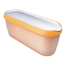 Tovolo Glide-A-Scoop Ice Cream Tub - Orange Crush - Finally  an Ice Cream Tub that neatly stores 1.5 Qt.s of homemade ice cream  gelato and sorbet.  The Tovolo Glide-A-Scoop ice cream tub features a non-slip base that steadies the container as you effortlessly scoop along the slender tub. Slim design to fit into any tightly packed freezer or freezer door!  Product Features      Extra long profile guides the perfect scoop   Non-slip base steadies tub while you scoop   Insulated tub stores compactly in freezer