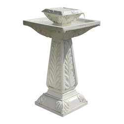 Serenity Health & Home Decor - Outdoor Classics Richfield Solar-on-Demand Tiered Birdbath Fountain - In a soft white hue with intricate leaf designs, this fountain captures the beauty of stone but is made from polyresin for increased durability. Using solar energy or battery power to power the pump, water bubbles up in the first tier and trickles down to the second through four recesses, creating soothing water sounds which will attract wildlife. Enjoy the sweet resonance of this water fountain anywhere outdoors!