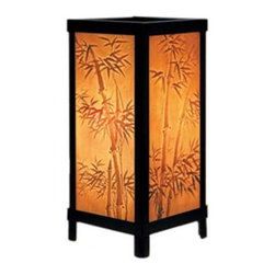 Porcelain Garden Lighting - Bamboo Motif Lithophane Accent Lamp - LT-06 - Four large Lithophane panels decorate this Asian influenced accent lamp in a black semi-gloss enameled finish. The six-foot plug features an inline switch. Takes (1) 60-watt incandescent A15 bulb(s). Bulb(s) included. UL listed. Dry location rated.