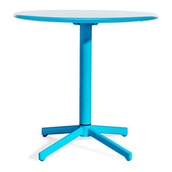 Folding Breakfast Table in Turquoise - Make a bold move with this bright, beautiful round table. Made of steel, this vibrantly colored table will bring a much needed shade of the rainbow into your home. Table conveniently folds up for easy storage.