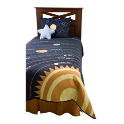 Rizzy Home - Solar Navy Full Size Kids Comforter Bed Set - Whether your child dreams of being an astronaut or is just fascinated with astronomy, this bedding collection will have him seeing stars.  This educational and exhilarating ensemble is an arrangement of midnight blue, orange and yellow, and includes your very own shooting star.