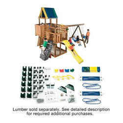 Swing-N-Slide - Swing-N-Slide Kodiak Swing Set Kit Multicolor - NE5010 - Shop for Swings Slides and Gyms from Hayneedle.com! Doing it yourself has never been so easy! The Swing-N-Slide Kodiak Swing Set Kit offers step-by-step instructions to build a fantastic swing set customized any way you like it. You choose your favorite from three unique projects purchase the lumber and hardware listed on the materials list then just follow the building instructions. You add your own accessories and the result is just what you and your kids wanted. A few accessories are included like swings and a tarp to cover your play deck. These things are designed to get you started. The rest is up to you. This product carries a 5-year warranty. This warranty is valid only if the product is used for the purpose for which it was designed and installed at a residential single family dwelling. Swing N Slide products are rated and tested for residential use only. Kit Includes: Some screws nuts washers and bolts 4 slotted clamps 12 shelf-loc brackets 12 wrap-loc brackets 2 split beam brackets 2 EZ frame brackets 8 step brackets 1 tarp 4 climbing rocks 2 swing seats 4 safety handles 4 swing hangers Illustrated instructions 1 T30 Torx bit Tools You Will Need: Lumber Hardware Circular saw Electric drill Hammer Safety glasses Tape measure 3/8-inch drill bit Phillips bit .5-inch socket and wrench Carpenter's square About Swing-N-SlideFounded in 1985 Swing-N-Slide was America's first manufacturer of do-it-yourself wooden playground products. This remarkable company designs manufactures and distributes residential and commercial play sets across the nation. Committed to safety and driven by a desire to provide compliant fun and value-packed products Swing-N-Slide backs every play set with quality and pride. They offer unparalleled value and the unique opportunity to tailor playground products to your specific needs and budget.