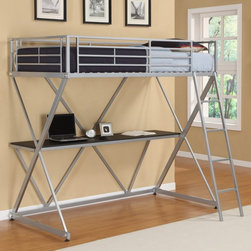 Dorel Home - DHP X Loft Bed - Silver - 5440196 - Shop for Bunk Beds from Hayneedle.com! When it comes to the DHP X Loft Bed - Silver X marks the spot on style and smart design. Featuring a durable metal frame finished in silver this contemporary loft bunk bed is a wonderful sleep-and-study combo for any child or teenager's room. Simple clean lines and X-frame metal supports accentuate the modern minimal design. Equipped with a spacious desk this study loft bed doubles as a comfortable and convenient workspace for your student. For added security safety rails surround the top bunk while the matching ladder makes climbing up and down safe and easy. Designed for years of use in any setting (bedroom dorm room or apartment) this loft bed accommodates a twin mattress (not included).About Dorel IndustriesFounded in 1962 Dorel Industries is a family of over 26 brands including bicycle brands Schwinn and Mongoose baby lines Safety 1st and Quinny as well as home furnishing brands Ameriwood and Altra Furniture. Their home furnishing division specializes in ready-to-assemble pieces including futons microwave stands ladders and more. Employing over 4 500 people in 17 countries and over four continents Dorel is renowned for their product diversity and exceptionally strong commitment to quality.