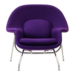 Modway Furniture - Modway W Lounge Chair in Purple - Lounge Chair in Purple belongs to W Collection by Modway Concerted efforts run deep in the expansively designed Womb Chair. First intended as a chair you ��_��_��_��_��_can curl up in,��_��_��_��_��_ it has since become a symbol for organic living. The natural motif portrays growth amidst silent resolve. Perhaps this is what makes the Womb both a reception and a lounge chair. Each of us would like to find our place as it were. Whether this means feeling welcomed in by the reception halls of businesses, or feeling welcome to relax into our own homes. While mid-century modernism showed us how to embark into the age of discovery, this finely upholstered classic taught us how to contemplate upon it. The shell of the Womb chair is made of molded fiberglass with foam padding. The legs are stainless steel and come with foot caps to prevent scratching on floors. Set Includes: One - Matching Ottoman One - W Lounge Chair Lounge Chair (1)