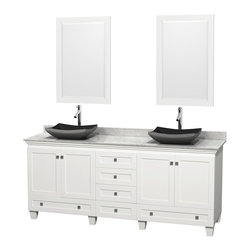 "Wyndham Collection - 80"" Acclaim White Double Vanity w/ White Carrera Top & Altair Black Granite Sink - Sublimely linking traditional and modern design aesthetics, and part of the exclusive Wyndham Collection Designer Series by Christopher Grubb, the Acclaim Vanity is at home in almost every bathroom decor. This solid oak vanity blends the simple lines of traditional design with modern elements like beautiful overmount sinks and brushed chrome hardware, resulting in a timeless piece of bathroom furniture. The Acclaim comes with a White Carrera or Ivory marble counter, a choice of sinks, and matching mirrors. Featuring soft close door hinges and drawer glides, you'll never hear a noisy door again! Meticulously finished with brushed chrome hardware, the attention to detail on this beautiful vanity is second to none and is sure to be envy of your friends and neighbors"