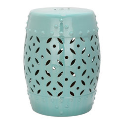 Safavieh - Lattice Coin Garden Stool ACS4510C - East meets West in the Lattice Coin Garden Stool. With classic Chinese drum shape, coin motif and faux nailhead detailing inspired by ancient water vessels, this ceramic stool with robin's egg blue glaze is fashion right for any decorating style from traditional to transitional.