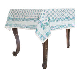 Origin Crafts - Abaco aqua tablecloth - Abaco Aqua Tablecloth 100% Cotton, block printed. Machine wash, tumble dry low, warm iron as needed. Made in India. Dimensions (in): Square - 55x55 - Seats 2?4 Rectangle - 60x90 - Seats 4?6 Rectangle - 60x120 - Seats 8?10 By Pomegranate Inc. - Pomegranate's vivid prints and wonderfully refreshing