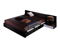 VIG Furniture - Gamma - Modern Platform Bed With Storage, Queen - Contemporary platform bed in wenge color with white high gloss accent on the headboard. Features lights that run along the headboard, and the right bed rail to give off extra bedroom ambiance. Nightstands included, and an extra night light above the left nightstand located on the headboard.
