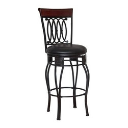 Hillsdale Montello 30 in. Swivel Bar Stool - Black - The grace and majesty of the Hillsdale 30-Inch Montello Swivel Bar Stool - Black will spread throughout your dining area creating an elegant and stylish atmosphere. Crafted of metal and highlighted with cherry wood accents at the top of the backrest this bar stool is a positively striking addition. The steel frame in a new black finish features interlocking scrolls intricate castings and double-arched steel rod legs. The beautiful rolled backrest finishes the chair with a flourish. The seat of the stool has a swivel mechanism to allow rotation of 360 degrees which requires less movement on floors. For additional comfort the Montello Swivel Bar Stool has a plush padded seat covered with 100% black faux leather. Faux leather is used for fine furniture because it looks and feels exactly like real leather and it is nearly impossible to tell the difference. The cushion is piled high for extreme comfort and the seat is pliable and resistant to everyday wear and tear making this stool versatile for any gathering area. Some assembly is required. Recommended table height for the Montello Bar Stool is 43 to 45 inches. Please note: This item is not intended for commercial use. Warranty applies to residential use only. About Hillsdale Furniture:Hillsdale Furniture is one of the nation's foremost authorities of home furnishings. Since its inception in 1994 Hillsdale furniture has combined the talents of both nationally recognized designers and globally accredited factories to bring you furniture styling and design from around the world that add beauty to any home. Selection and value are the guidelines that have added Hillsdale to the top of buyers shopping lists. Taking pages from the history of furniture design and leads from our customers Hillsdale combines the best in finishes materials and designs to bring you both beauty and value with every piece you purchase. The combination of metal wood stone and leather has given Hi