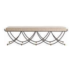 Arteriors - Felice Large Bench - In sports, getting benched is a bad thing. But with this iron bench, you get a fancy scalloped design along with a linen cushion that plays well in most settings. Use it at the foot of the bed or in the dining room. You won't need coach to tell you that this bench is a good thing.