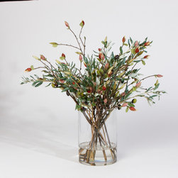 Olive Leaf and Magnolia Bud Mix - This splendid bouquet captures the hearty beauty of nature's most cherished flora. Branches of magnolia buds and green olive leaves are arranged in a round clear glass cylinder for an exquisite display that looks fresh year round.