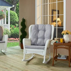 Coral Coast White Wing Back Resin Wicker Rocking Chair with Gray Cushion - Rest in luxurious comfort whether you're indoors or out with the Casco Bay White Wing Back Resin Wicker Rocking Chair with Gray Cushion. Beautifully designed this classic wingback chair gets a bit of a makeover with its resin wicker craftsmanship and rockers. Resin wicker is UV and water resistant and the color will not fade over time meaning this rocker was made to last. Its gray cushion is not only soft and comfortable but also accents the white finish perfectly. Classic sophisticated and elegant this resin wicker rocking chair is also easy to clean and maintain with soap and water. Additional Features All-weather resin wicker is made to last UV and water resistant Does not fade over time Easy to clean and maintain About Coral CoastWhat if when you closed your eyes you pictured yourself in your own backyard? Coral Coast has a collection of easygoing affordable outdoor accessories for your patio pool or backyard. The latest colors and styles mingle with true classics in weather-worthy fabrics and finished woods ready for relaxation. Make yours a life of leisure.