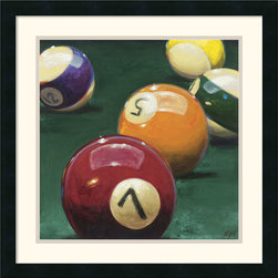 Amanti Art - Bank Shot Framed Print by Karen Dupre - Karen Dupre puts us in the mood for a game of pool with this colorful art print. Chalk 'em up, set 'em up, break 'em, stripes or solids, eight-ball in the side pocket. A terrific choice for the game room.