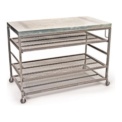 Go Home - Bakers Console with Hand Finished - Fantastic Bakers Console eye-catching console made of galvanized steel top and has steel body with hand finish Uniquely-shaped counter top large enough to act as a buffet for Sunday family brunch or to display flowers, plates, and other beloved items every day.