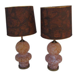Murano - Pre-owned Large Murano Amber Glass Table Lamps - A Pair - Large Murano frosted amber glass table lamps with mottled white design.  Brass trim on matching lamp shades in tortoise shell type design and bass. 3 position switch.  Base can illuminate!