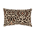 Pillow Perfect - Pillow Perfect Brown/ Beige Damask Rectangular Throw Pillow - Update your home decor with this attractive brown throw pillow from Pillow Perfect. This beautiful throw pillow features a chocolate brown fabric on one side,and a gorgeous damask pattern on the other side allowing you to choose which side to display.