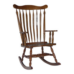 International Concepts - International Concepts Solid Wood Rocker in Cottage Oak - International Concepts - Gliders & Rockers - R48120 -   This traditional solid wood rocker from International Concepts is featured in a Linen White finish.  It comes ready to assemble.   Features: