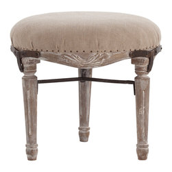 Lorraine Hand Carved Solid Wood/Linen/Iron Stool - Bringing to mind the unrefurbished beauty of original upholstery on worn antique chairs, the Lorraine Hand Carved Stool has a solid wood frame inspired by vanity seats and elite slipper chairs of centuries-old origin, incorporating acanthus swoops into a low-profile curving apron between traditional spindle legs.  A Y-shaped stretcher joins the legs and coordinates with the tiny upholstery tacks that secure gathered linen padding on the seat.