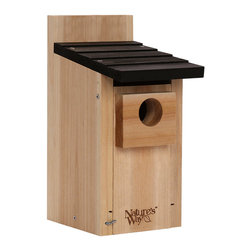 Nature's Way - Bamboo Bluebird Box House - Bluebird Box House is made of solid cross-ply bamboo and stainless steel screws. This house features extra air vents, clean-out doors, elevated mesh floor, predator guard, fledgling skerfs, and a 1 inch entry hole.
