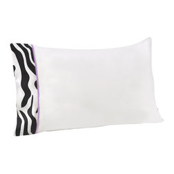 Sweet Jojo Designs - Purple Zebra Children's Sheet Set - The Purple Zebra Children's sheet set will help complete the look of your Sweet Jojo Designs room. This white with zebra print trim and purple piping sheet set is available in a Twin and Queen Size and is machine washable for easy care.