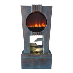 Alpine Corporation - Cascading Fireplace Fountain with LED Lights - These Ultra Fire LED Light Fountains will make a dramatic center piece in any home or garden. With its elegant modern designs, these fountains bring together fire and water without a real fire. No need for fuel or gel, simply turn on the fountain and watch as our patent pending Ultra Fire LED Light technology replicates real fire.