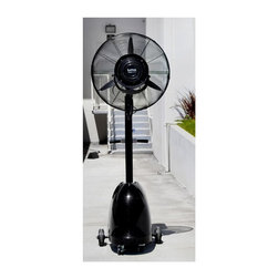 Luma Comfort - Misting Fan w 26 in. Fan Head - Three fan speeds. Integrated carry handles and rolling casters. 4.4 gallons of water tank. Covers up to 1,000 sq. ft.. Centrifugal misting system. Quiet and high efficiency fan motor. Adjustable misting flow with fully insulated seal around the pump. Oscillating fan head. Adds moisture to dry environments. 5 hour maximum run time. Warranty: One year. Made from heavy gauge and anticorrosive metal. Black finish. Assembly required. 26 in. L x 17.3 in. W x 76.6 in. H (89 lbs.). Product ManualDesigned specifically for commercial, industrial and agricultural applications. This is the most powerful model in the Luma Comfort misting fan line. The MF26B is a high-velocity centrifugal misting system that consists of a powerful water pump and non clogging misting plate.