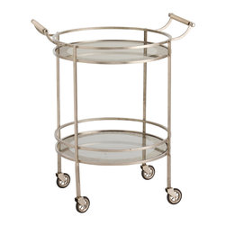 """Arteriors - Arteriors Wade Vintage Silver/Glass Bar Cart - Borrowing its simple design from mid-century modern style, the Wade bar cart by Arteriors blends clean lines with glam details. This round cart features two mirrored shelves with antiqued borders and a sleek silver frame. 26.5""""W x 21""""D x 33""""H; Silver and mirror; Antiqued finish"""
