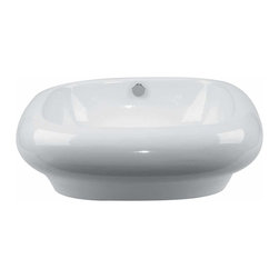 Renovators Supply - Vessel Sinks White Square Sinks Mushroom Vessel Sink - Bathroom Square Sinks. A uniquely shaped vessel sink designed to make hand, face, and tooth washing enjoyable. Vitreous grade A china is durable and beautiful, as well as easy to clean. Sold individually.