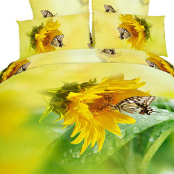 Dolce Mela - Modern Bedding Floral Duvet Cover Set Dolce Mela DM428, Twin - This spectacular butterfly themed bedding will create a fresh spring like look for your bedroom decor all year round.